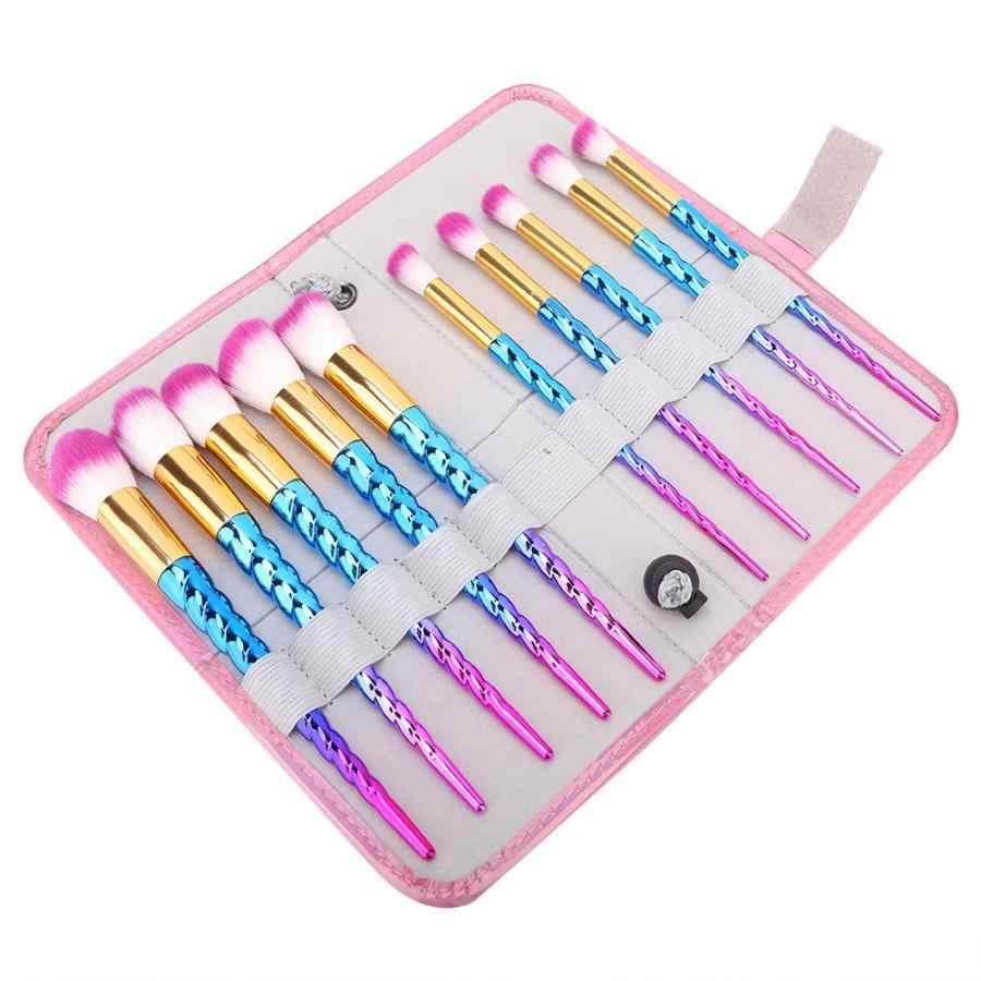 Cosmetics Brushes 10Pcs Colorful Makeup Brushes Set Eyeshadow Foundation Blush Brush with Storage Bag Easy To Wear