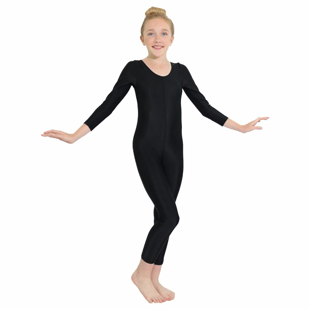 Show details for Child Long Sleeve Gymnastics Unitards Girls One Piece Spandex Lycra Scoop Neck Full Body Unitard Black Dance Skin Tights
