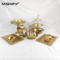 6PCS Thin Disk Cupcake Set Wedding Dessert Metal Round 3 Tier Afternoon Tea Cake Stand