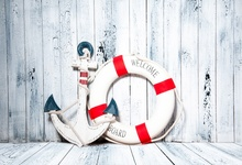 Laeacco Photography Backgrounds Anchor Life Buoy Wooden Board Floor Scene Baby Customized Photographic Backdrop For Photo Studio