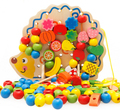 Early Learning Education Wooden Toys Hedgehog Fruit Beads Child Hand Eye Coordination Skills Development Educational