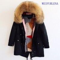 90 см Настоящее пальто с мехом парки Зимняя куртка, пальто Женская куртка большой натуральным мехом енота натуральный Лисий Мех Лайнер Длинн