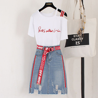 Summer Top and Skirt Set Women 2019 Fashion Sexy Letter Print Tops Mini Skirt 2 Piece Set Tracksuit Woman Clothes Ensemble Femme
