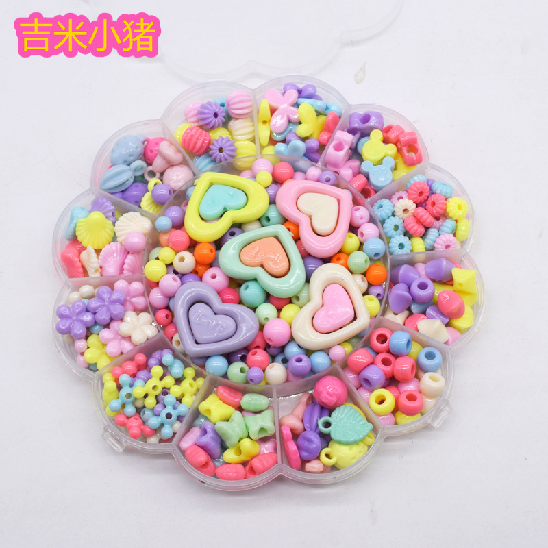 Acrylic Beads Toys For Children DIY Bracelet Girl Gift Handmade Round Square Colorful For Waving Necklace Lacing Toy Wholesale