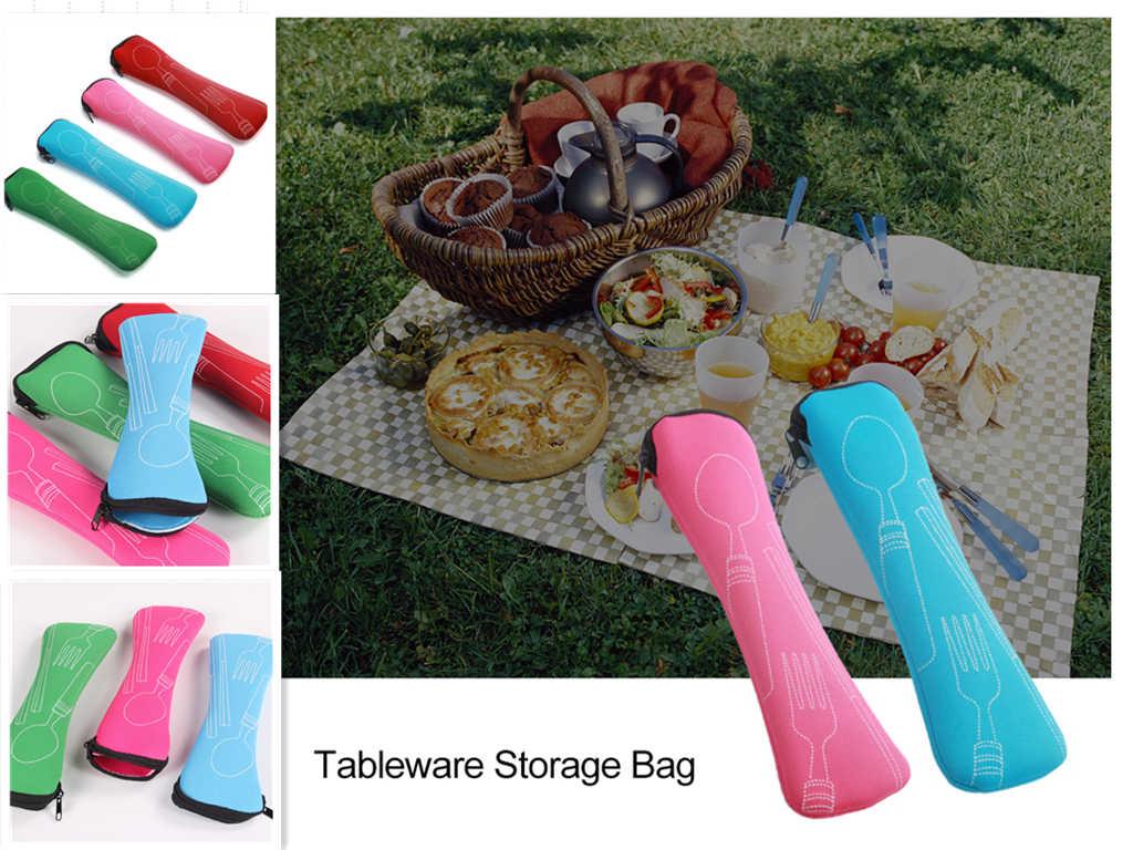 Bolsa de talheres de viagem portátil, garfo, colher, conjunto, aço inoxidável, para atividades ao ar livre, piquenique, talheres portátil, bolsa de pano, ferramentas de almoço