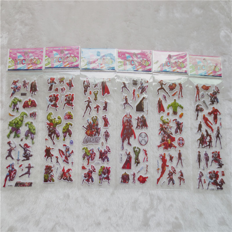 1lots SuperHeroes Stickers Avengers DIY Graffiti Toy Thor Hulk Spider Man Decals For PVC Scrapbook Gifts For Kids