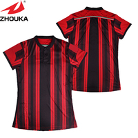 Black and Red color mix football jersey,sublimation printing lady jersey,make your own design