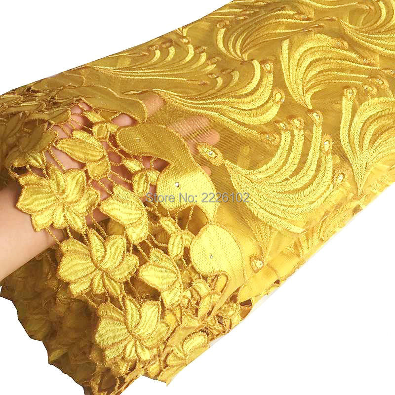 High quality fashion gold dubai fabric with stones