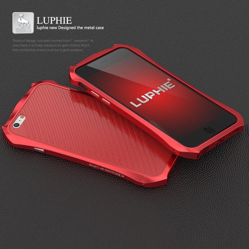 bilder für LUPHIE Für Apple iPhone 6 Fall Luxus Fest Aluminium Rahmen Leder Zurück abdeckung Telefonkasten für iPhone 6 6 S Plus 5 5 S SE Fall abdeckung