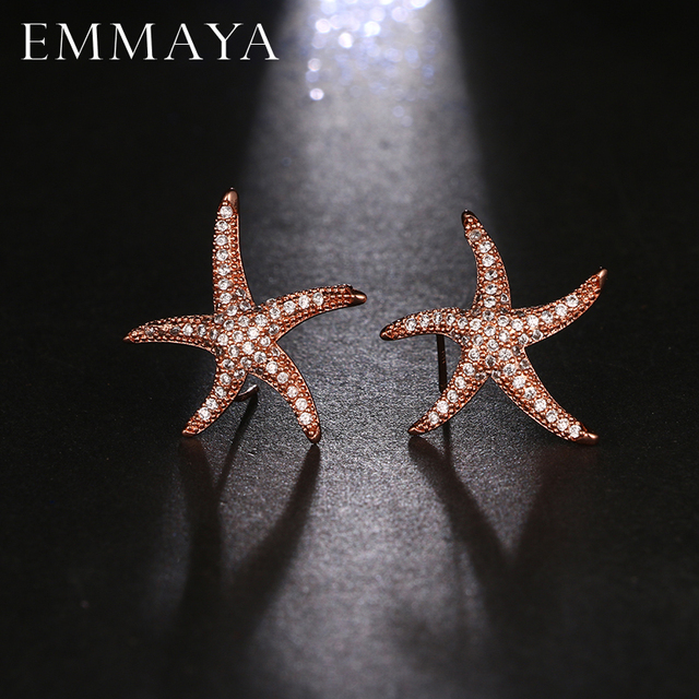 EMMAYA New Unique Design Star Symmetrical Stud Earrings High Quality Starfish Ear Earrings for Women Luxury Wedding Jewelry