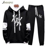 XXXTentacion Men ADI Tracksuits Outwear Hoodies Sportwear Sets Male Sweatshirts Cardigan Men Set Clothing+Sweatpants Pants 4XL