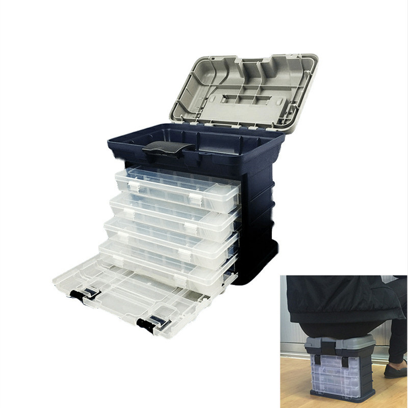 High Quality 5 Layer PP+ABS Big Fishing Accessories Box 27x17x26cm Plastic Handle Fishing Tools Box Carp Fishing Tackle(China)