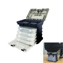 Yüksek kaliteli 5 katmanlı PP + ABS büyük balıkçılık aksesuarları kutusu 27x17x26cm plastik saplı balıkçılık alet kutusu sazan olta takımı
