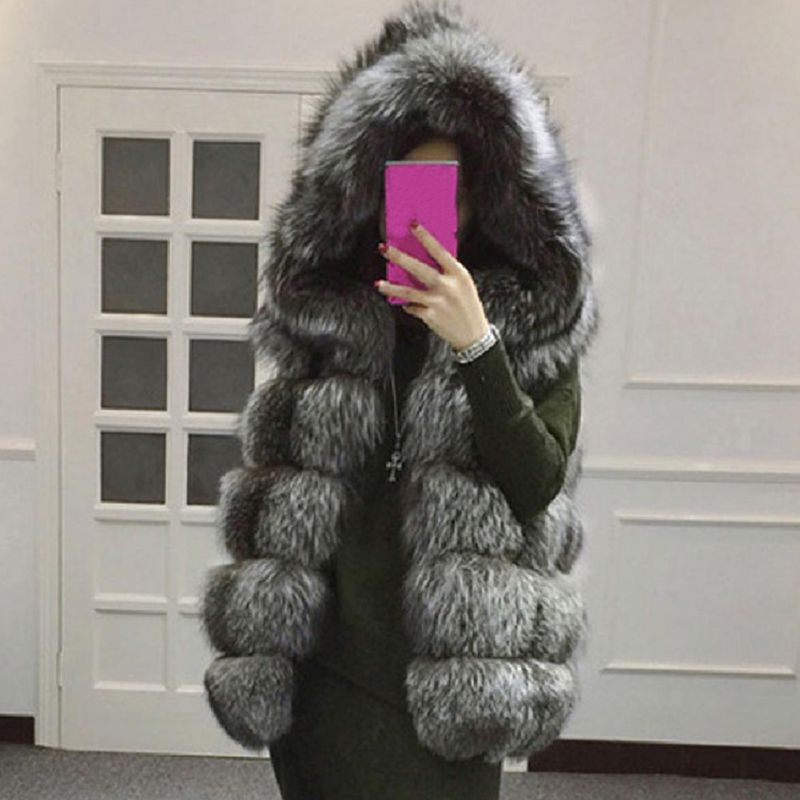 Women Sleeveless Vest Hooded Cap Fur Luxury Thicken Women Tops Women Coat Winter Coat Women Faux Fur Fashion Coat