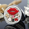 Engrave words free,bling rhinestone sexy lip handbag,Mini Beauty pocket makeup compact mirror makeup,wedding party present gifts