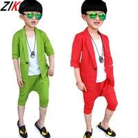 Children Blazer For Boys 2016 Summer Korean Style Half Sleeve Jackets Kids Harem Pants New Baby