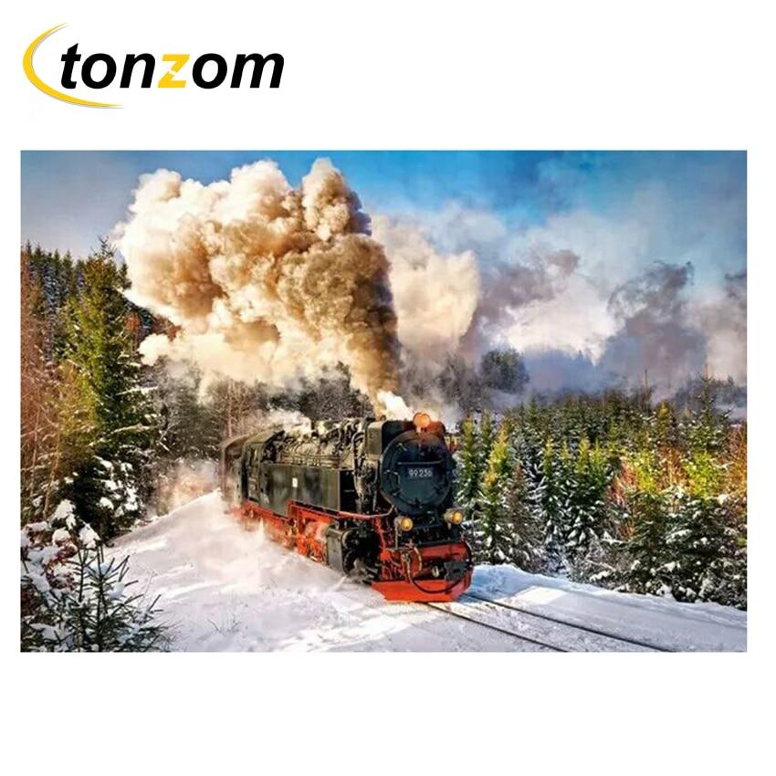 RIHE tren dibujo por número DIY ver fuera pintura trabajo hecho a mano en Cuadros Decoracion pintura al óleo para colorear arte decoración regalo