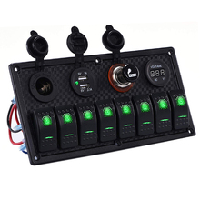 8 Gang Green LED Toggle Rocker Switch Panel Marine Boat Car RV Waterproof Circuit Breaker