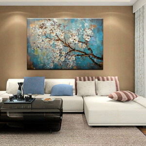 Image 5 - Mintura Hand Painted Flowers Tree Draw Morden Oil Painting On Canvas Pop Art Posters Wall Pictures For Live Room Home Decoration