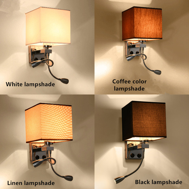 Unique Design Modern LED Cloth Wall Lamp Wall Sconce Light Hallway Bedroom  Bedside Light Flaxen/