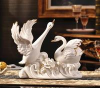 Creative ceramic swan decoration handicraft household modern living room TV cabinet office decoration wedding gift