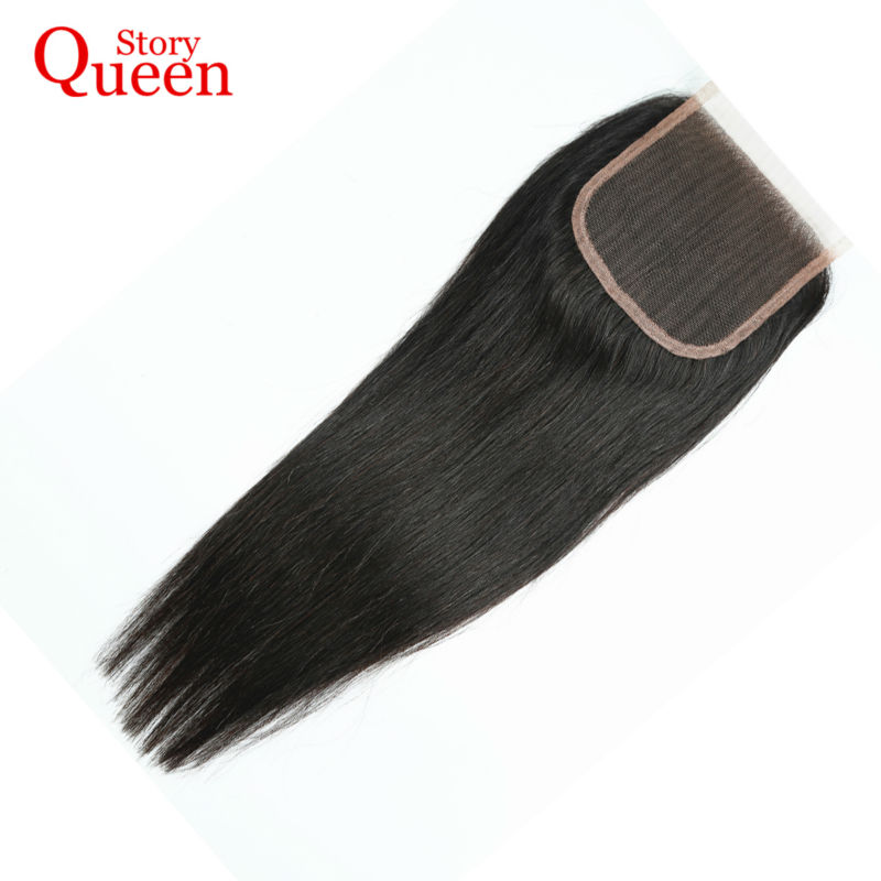 Queen Story Free Part Lace Closure Malaysian Straight Remy Hair 100 Human Hair Natural Color 10