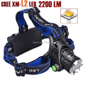 AloneFire HP79 CREE XM-L2 LED 2200 Lumens Rechargeable Zoom Headlight LED Headlamp CREE For 2x18650 Battery