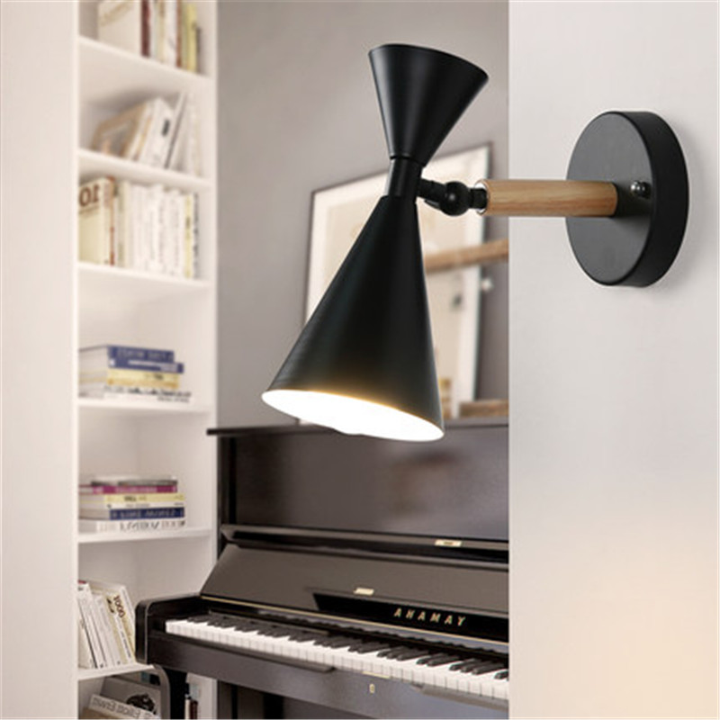 Loft Style Iron Adjust Modern LED Wall Light Fixtures Industrial Wind Wall Sconce Wood Bedroom Bedside Wall Lamp Home Lighting nordic simple modern wall sconce industrial wind adjust iron wall light fixtures bedside led wall lamp home indoor lighting