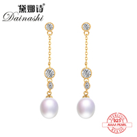 Dainashi Luxury Gold Color 100 925 Silver Pearls Drop Long Earrings Top Brand Fine Jewelry For