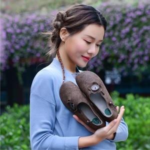 Image 5 - Johnature 2020 Mới Mùa Xuân/Mùa Thu Da Thật Chính Hãng Da Cho Nữ Retro Casual Giày Mũi Tròn Nông Hoa Trơn Đế Bằng Nữ giày