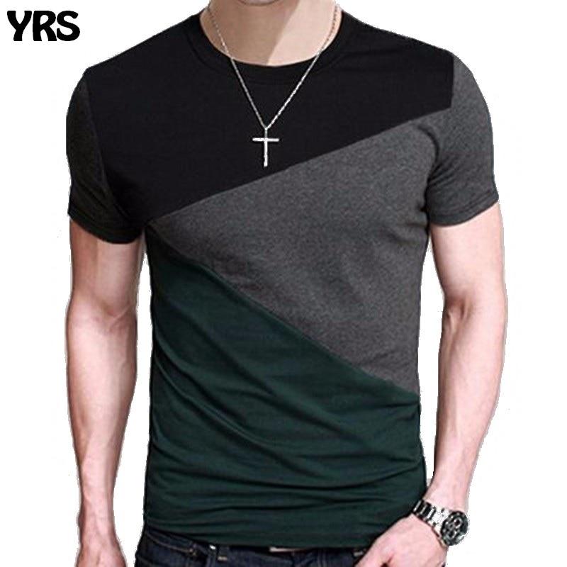 Moda camiseta hombres O cuello Patchwork camisas elegante