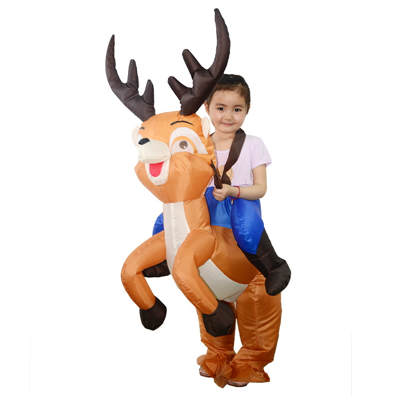 Elk Christmas Inflatable Clothes Deer Anime Children Cosplay Costumes Halloween Easter Party Dress Up Inflated Garment Disfraz