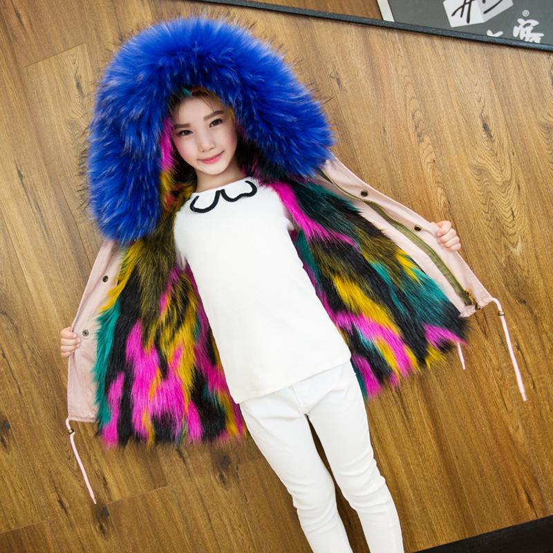 2017 Winter children Clothing imitation Fur Overcoat Hooded Boys and Girl Hacket Coat Warm Faux Fur Coat 2017 winter new clothes to overcome the coat of women in the long reed rabbit hair fur fur coat fox raccoon fur collar