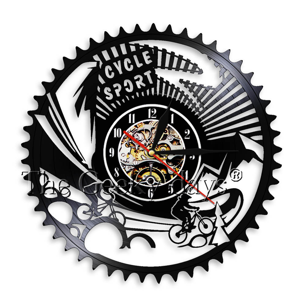 1 Piece Modern Cycle Sport Vinyl Record Wall Clock Handmade Gear Bicycle Bike Decor Art Clock Watch Cycling Team Club Souvenir