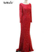 YeWen Длинные рукава бисером вечерние платья вечерние элегантные блестками Русалка Vestidos De Festa Vestido Longo халат De Soiree