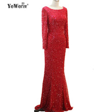 YeWen Long Sleeves Beaded Evening Dresses Party Mermaid