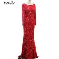 YeWen Long Sleeves Beaded Evening Dresses Party Elegant Gowns Sequined Mermaid Vestidos De Festa Vestido Longo Robe De Soiree