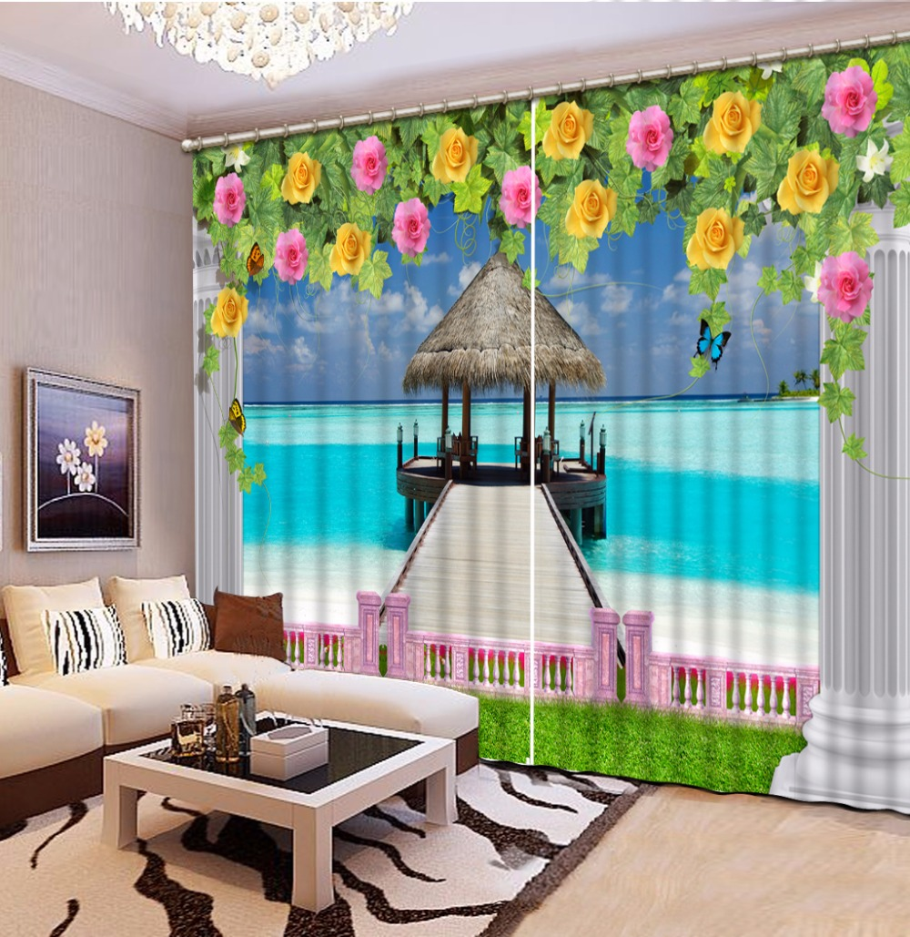 3D Curtain Fashion Customized Wooden bridge seascape flower Curtains For Bedroom New Custom 3D Beautiful Blackout Shade