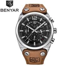 BENYAR relojes militares para hombre, cronógrafo deportivo, resistente al agua, de cuarzo, de cuero, Masculino