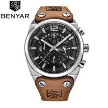 Relogio Masculino BENYAR Military Watches Mens Fashion Waterproof Chronograph Sport Quartz Wrist Watch Leather Clock Men Saat