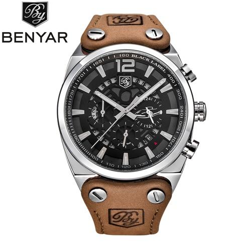 Relogio Masculino BENYAR צבאי שעונים גברים של אופנה עמיד למים הכרונוגרף ספורט קוורץ שעון יד עור שעון גברים Saat