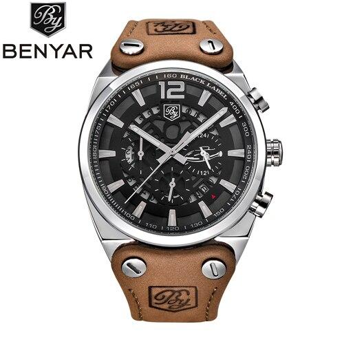Relogio Masculino Benyar Militaire Horloges Mannen Mode Waterdichte Chronograaf Sport Quartz Horloge Leer Klok Mannen Saat