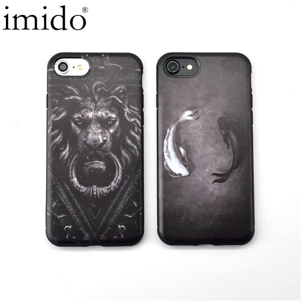 Cartoon Black White 3D fish Lion head Mysterious Art Silicon Soft TPU phone cases For iphone X 8 7 6S 6 Plus case For iphone 7