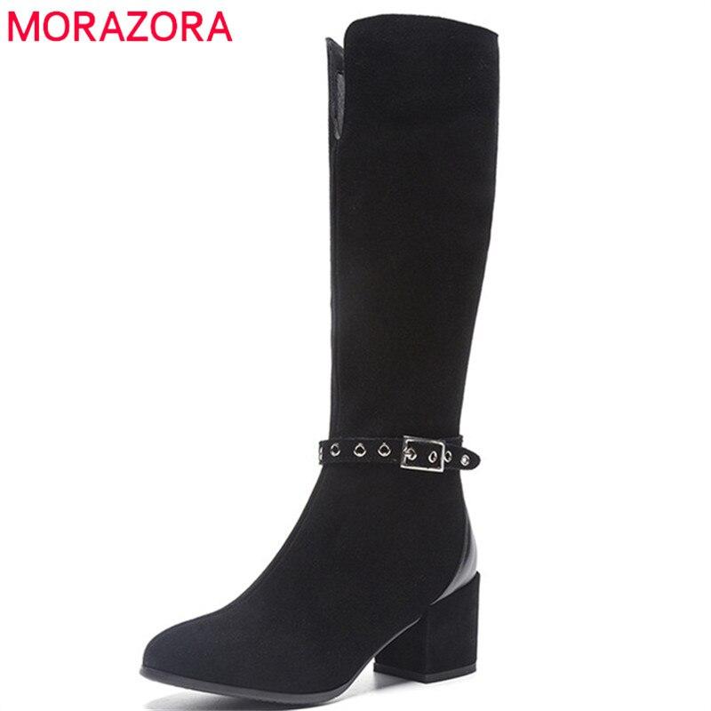 Fibbia Casual 5cm Modo Morazora In 6cm Pelle 2 Arrivo black Alti Stivali  2019 Delle Inverno Scarpe Autunno Donne Black Nuovo Donna Di ... 3012fd113b5