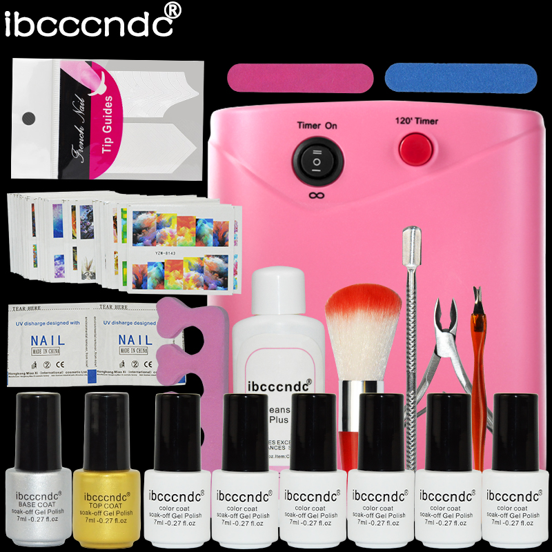 ФОТО Semi permanent Nail polish Set 36w uv lamp+7ml uv Gel varnish nail +curved nail tips professional manicure nail art paillette