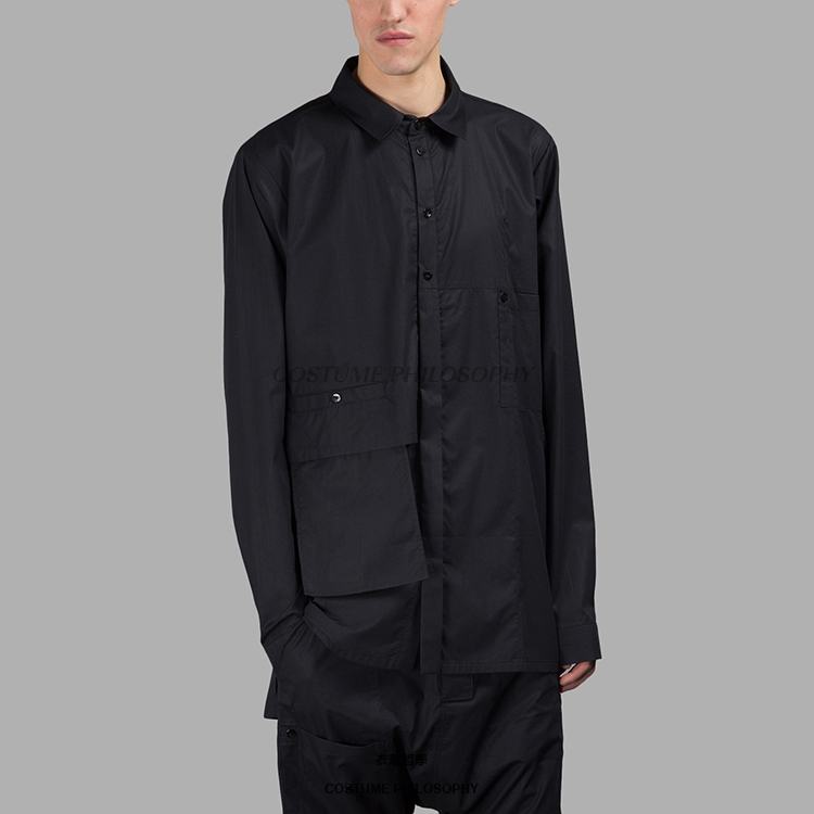 S-6xl!! Shirts 100% Quality Homemade 2108 New Mens Loose Shirt Patchwork Design Handmade Multi-layer Black Shirt Men's Clothing