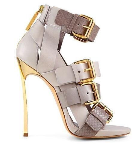 e44ad747ae US $91.86 5% OFF|Free Ship Designer Gold Buckle Peep Toe Ankle Boots Cut  out Gold Blade Heel Women Sandals Gladaitor Sandal Boots Size 34 41-in  Ankle ...