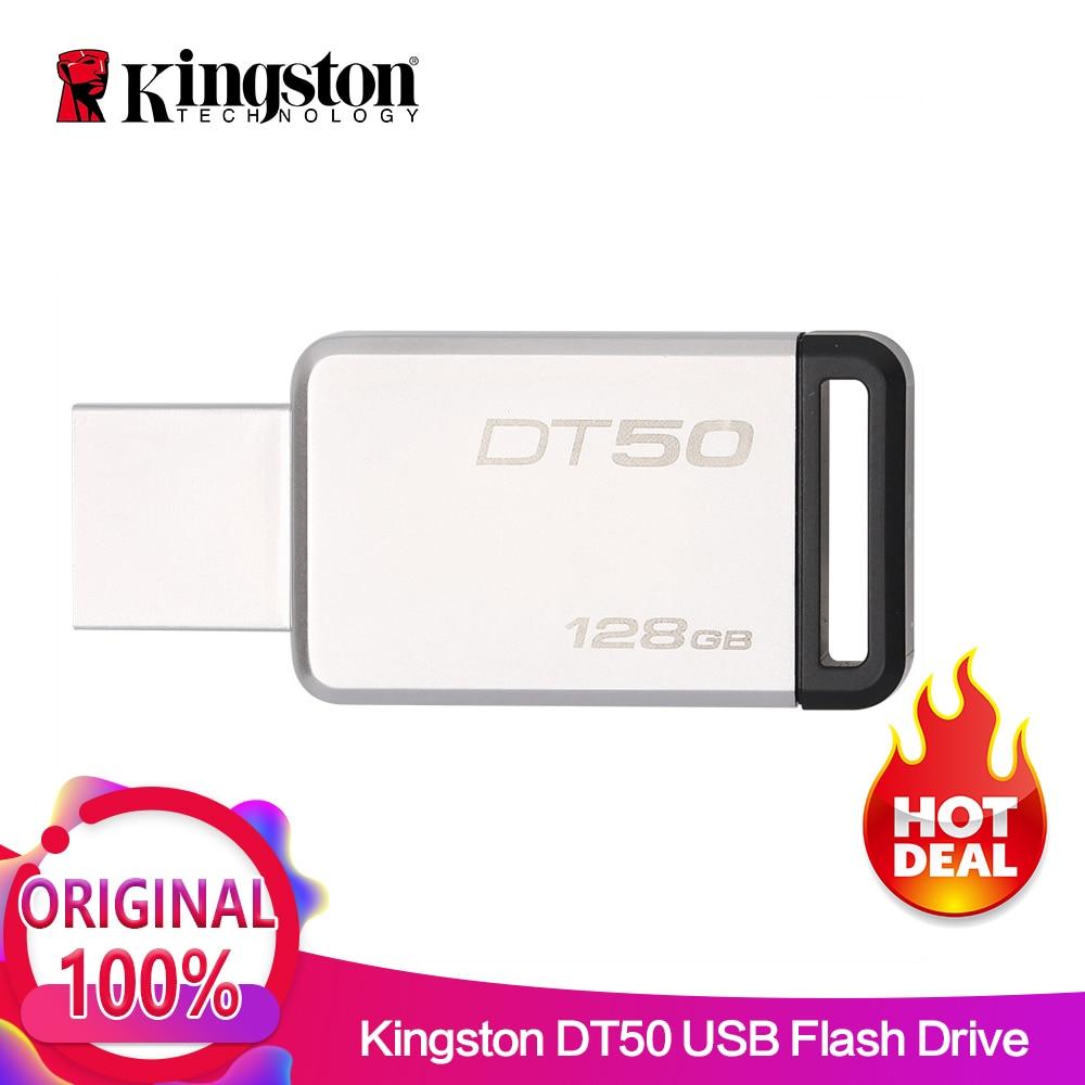 Kingston Digital DT50 USB 3.0 USB Flash Drive 16GB Pendrive 128GB 32GB Pendrive 64GBGB Metal Pen Drives 8GB Memory U Stick usb flash drive 16gb kingston datatraveler 50 usb 3 1 dt50 16gb