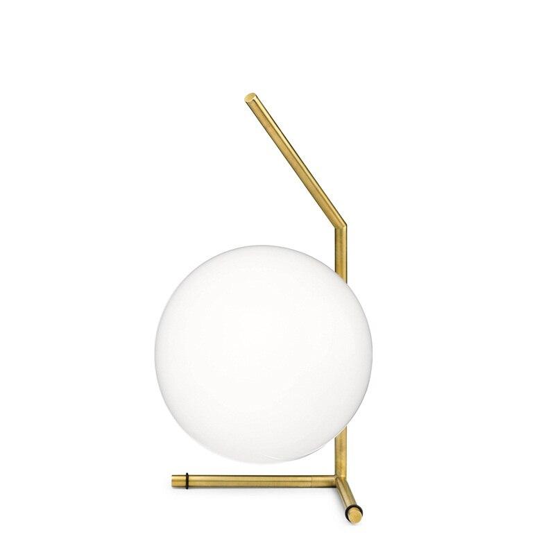 Nordic Art Design D20cm White Glass Ball Table Lamp Gold ...