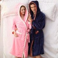QWEEK Winter Female Robe Pink Flannel Women Sleepwear Couples Robe Kimono Warm Bathrobe Terry Robe Long Sleeve Soft Home Wear